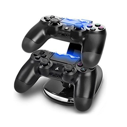 Eaxus Ladestation Dock für 2 x PlayStation 4 Controller mit Ladestatusanzeige durch LED Beleuchtung. Docking Station zum Aufladen Ihrer PS4 Gamepads