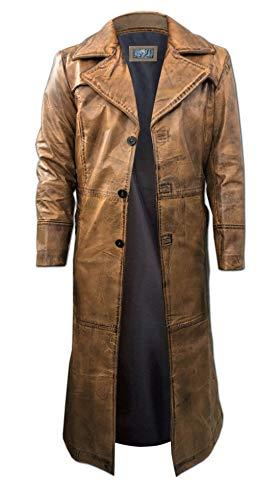So-Shway Herren Leder Trenchcoat für Männer Lange Jacke Vintage Distressed Ledermantel (Braun, 2XL)