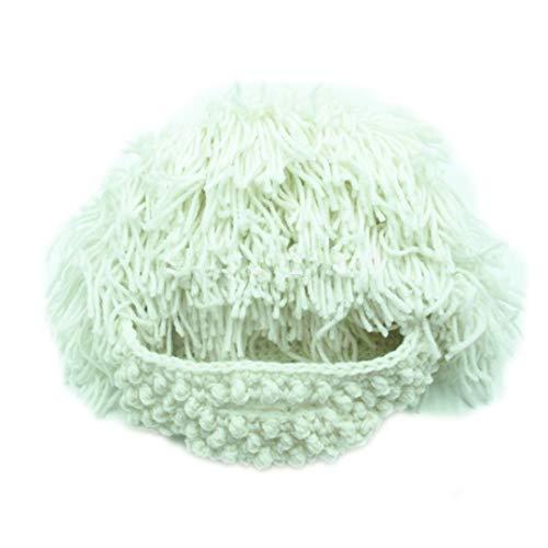 Mad Weibliche Men Kostüm - Lustige Party Maske Mützen Perücke Bart Hüte Mad Handmade Stricken warme Winter Caps White