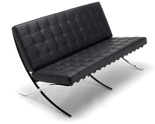 Iconic Interiors Barcelona 2er Sofa in Voller anilines Italienisches Leder, Leder, weiß, Zweisitzer - Leder-sofas Und Zweisitzer