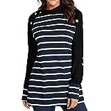 GreatestPAK Damen Lässig Streifen Nähen Pullover Oberteile Sweatshirt Langarm Gestreift Mit Knöpfen, Blau,XL