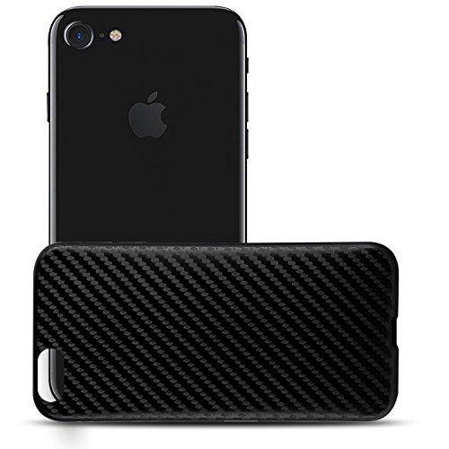 Ultraslim TPU Backcover - Case in Carbon Look für - Apple iPhone 7 Plus - Rückschale Bumper aus Silikon Farbe: Schwarz Schwarz