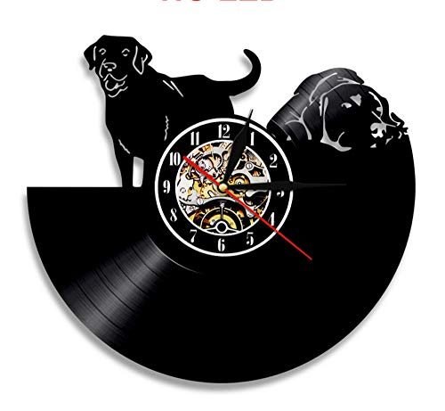 t Hund Thema Handgemachte Dekorative Vinyl Uhr Vintage Lp Rekord Für Wohnzimmer Innendekoration Kunst Keine Led Licht 12 Zoll ()