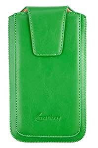 Emartbuy® PU Leather Slide in Pouch Cover Sleeve Holder for Lava A88 Smartphone (Size LM2_Green Sleek)