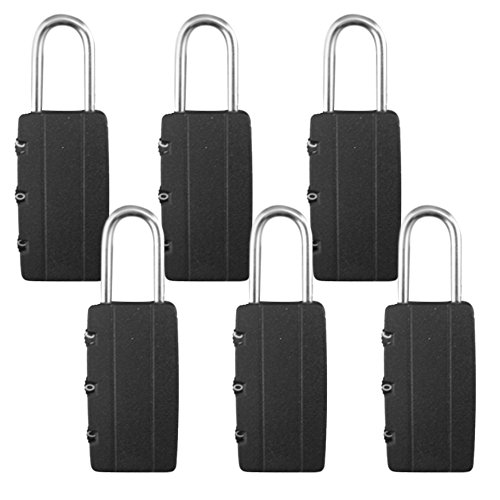6Schwarz Kombination Vorhängeschlösser 3-stelliger für extra Sicherheit Sicherheit Mini rücksetzbaren Passwort Master Code Zifferblatt Ziffer Sicherheit ideal für Gepäck Tasche Koffer Gym locker Schuppen Reise (Lock Heavy-duty-master)