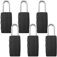 Schöne Gagdets (UK) - Lucchetti a combinazione a 3cifre per una maggiore sicurezza, ideali per bagagli, valige, borse palestra (Confezione da 6)