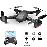 PCtech Foldable Drone with 720P HD Wide Angle Camera, WiFi FPV Live Video RC Quadcopter - Altitude Hold, Headless Mode, One Key Take Off/Landing, 3D Flip, APP Control