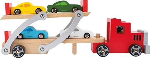small foot 4222 Autotransporter aus Holz, mit beweglicher Laderampe, abnehmbarem Anhänger und 4 Autos, ab 3 Jahren