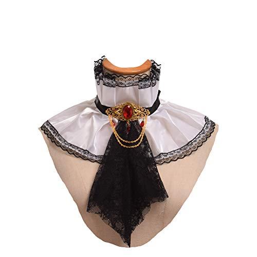 GRACEART Viktorianisch Jabot Halsband Hals Rüschen (Schwarz-Weiss) -