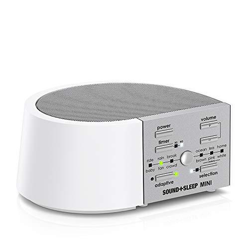 Sound+Sleep MINI Tragbare Schlaf-Soundmaschine mit AC- und Akkubetrieb, echten, nicht wiederholenden Naturklängen, Lüftergeräusche  und weißem Rauschen. Global Edition EU-, UK- und US-Steckern (weiß)