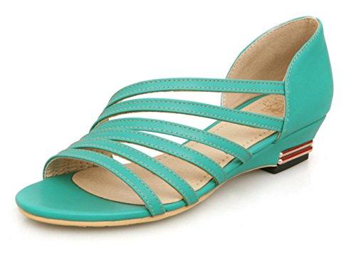WZG Kleine Hang mit offene Sandalen hohlen Straßen Beutel mit Frauen Sandalen Ledersandalen Green
