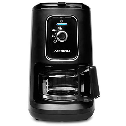 MEDION MD 17384 Kaffeemaschine mit Mahlwerk, 900 Watt, 600 ml Tankvolumen, 2in1-Funktion, 2 Mahlstufen, Permanentfilter