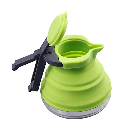 Bollitore pieghevole portatile verde del silicone di LUT di verde di 1.2L per il caffè all\'aperto del tè che viaggia campeggio Backpacking Pieghevole bollitore