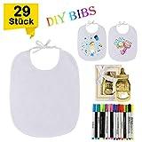 GIANOLUC 29 Stück Weiße Lätzchen zum Bemalen für Babyparty - 12 Baumwolle Lätzchen, 16 Textil Stifte und 1 Flaschenöffner, Wasserfeste Dribble Lätzchen - Perfektes Geschenk für DIY