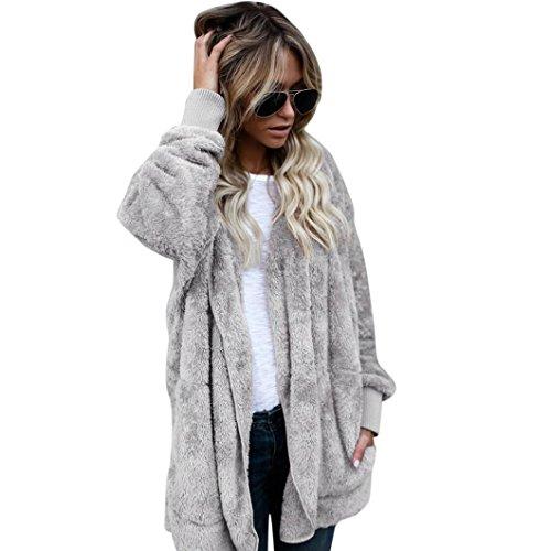 SHOBDW Mujeres encapuchados chaqueta de abrigo largo abrigos parka outwear Cardigan chaqueta (Gris, S)