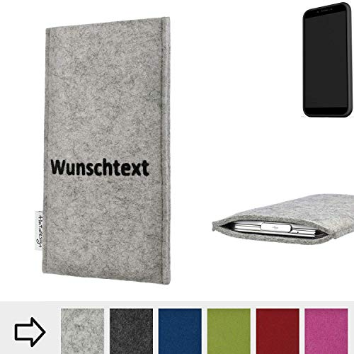 flat.design Handy Hülle Porto für Shift Shift6mq personalisierbare Handytasche Filz Tasche Name Wunschtext Case fair
