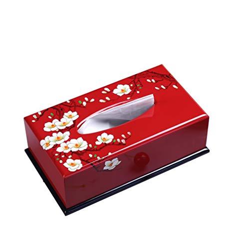 Wjsw scatola porta fazzoletti,rosso - in legno dipinto pittura a olio colorata in legno home office arte decorazione tovagliolo rotolo scatola carta