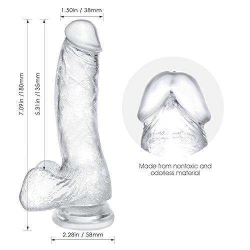 Louviva Masajeador transparente,  Muy Suave,  Material seguro,  18cm de Largo