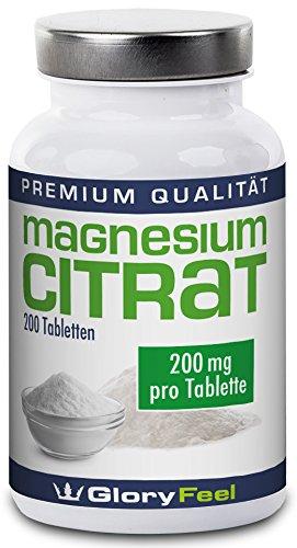 Magnesium Tabletten 200mg Hochdosiert - 200 Vegane Tabletten reines Magnesiumcitrat - 200mg elemntares Magnesium pro Tablette - Laborgeprüft und ohne unerwünschte Zusätze von GloryFeel