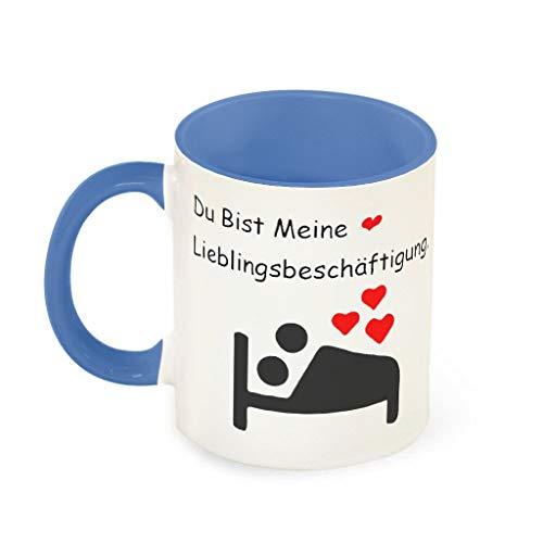O5KFD&8 11 Unze Du bist Meine Lieblingsbeschäftigung Kaffeetasse Keramik Fun Becher - Lustige Hochzeits-Geschenke Männer (Beidseitig Bedrucken) Steel Blue 330ml