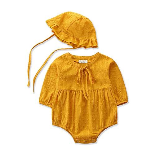Heetey Mädchen Tops Outfits & Mantel Neugeborenes Baby Jungen Mädchen einfarbig Strampler Cap Bodysuit Outfits Kostüm Bowknot Pullover Festlich Kleid Hochzeit Partykleid Festzug Babybekleidung (Neugeborene Giraffe Kostüm)