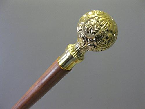 Odzież i dodatki sprzed 1900 Spazierstock 92cm lang Vintage Wanderstock Gehstock Messinggriff gold-glänzend Dodatki