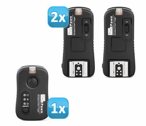 Pixel Pawn TF-361 Funk Blitzauslöser Set mit 2 Empfängern bis 100m für Canon Blitzgeräte – Funkauslöser Kamera- und Blitz