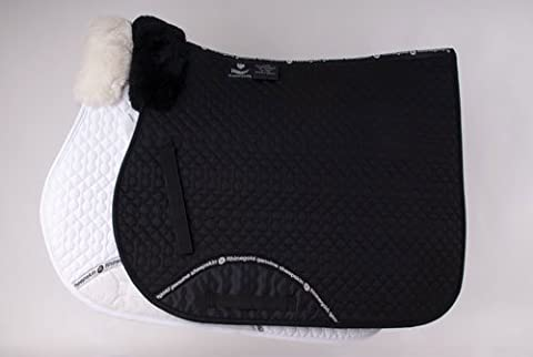 Rhinegold Quilted Horses Saddlecloth With Sheepskin Wither Pad Black Full