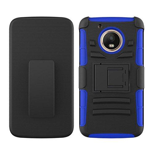 Bescita Tasche Hybrid Telefon Fall Kickstand Holster Gürtel Clip Abdeckung Anti-Kratzer Anti-Fingerabdruck Hülle für Motorola Moto E4 2017 / G5 (Blau) (Holster Gürtel-clip)