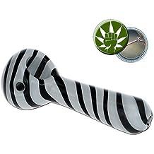 Black Leaf Pipa de Cristal Negra A rayas 10mm Agujero lateral Cristal Cuchara Pipa