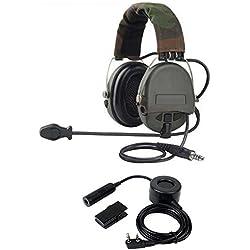 Tácticas militares automáticamente gastos generales de cancelación de ruido auriculares con micrófono de Boom y Heavy Duty PTT para 2pines KENWOOD BAOFENG PUXING QUANSHENG WEIERWEI WOUXUN HYT Radio etc.