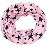 SODIAL(R)Unisexo Bebes Chal de invierno envuelto tejido de estrella de cinco puntas de lazo envuelto Cuello de cintillo mas calido Rosado