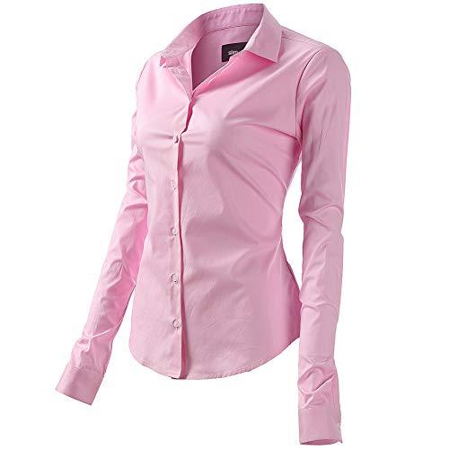 Camicia Basic da Donna in Cotone Manica Lunga - Camicetta Casual Blusa Chiusura Bottoni Slim Formale Elegante - Camicia Shirt con Colletto Dritto, Ideale per Ufficio/Lavoro/Colloquio (EU52, Rosa)