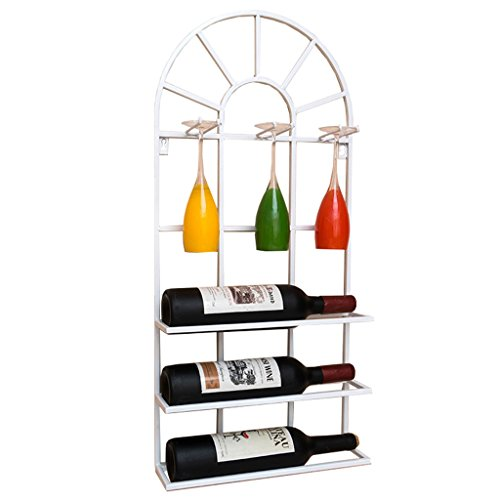 Etagère à bouteille Loft mural étagère en métal fer de stockage murale étagères à vin Bouteille de vin et porte-verres Cadre vin titulaire de verres à pied gobelet Décoration pour Maison/Bar - 35 x