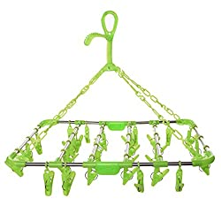 Baby Bucket Plastic Fold-able Portable Hanging Dryer Clothes Drying Hanger Rack with 30 Clips (Green)