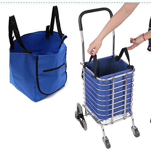 Speedmar UK Mode Wohnkultur Oxford-Stoff-Einkaufstasche, Supermarkt-Laufkatzen-Einkaufsorganisator-Tasche Eco-Lebensmittelgeschäft verlängern Wagen-Klipp-Wiederverwendbare Faltbare Handtasche