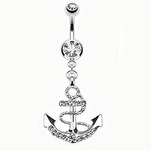 Qinlee Bauchnabel piercing Schmuck Kristall mit Seefahrt Anker Anhänger Frauen Mädchen Anker mit Diamant Nabel Ring (Silber) - Bauchnabel-ringe Anker