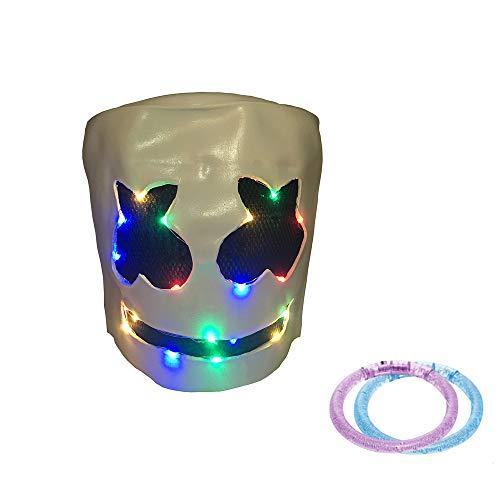 UMyhou DJ Marshmello Maske Helm,Modische Halloween Party Nachtclub Latex Weiß Maske Adult DJ Marshmello Maske Cosplay Kostüm Helm (Farbe 2)
