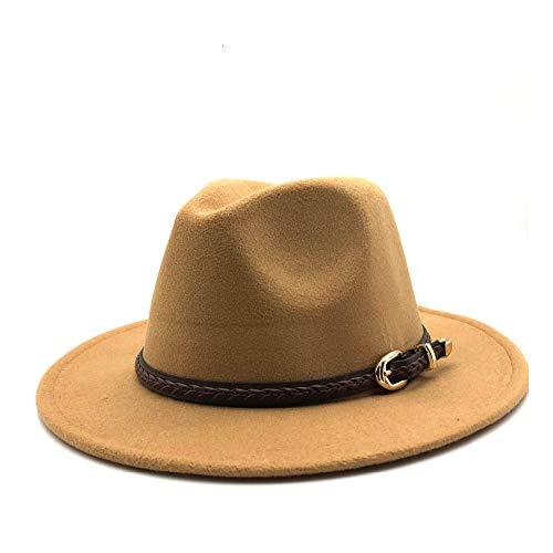 L.W.SUSL Mode Für Männer Und Frauen Wollfilz Fedora Hut, Winter Herbst Sombrero Magie Hut Leder Gürtel Jazz Hut Größe 56-58 cm Top Hüte (Farbe : Yellow, Größe : - Mann W Gelb Hut Kostüm