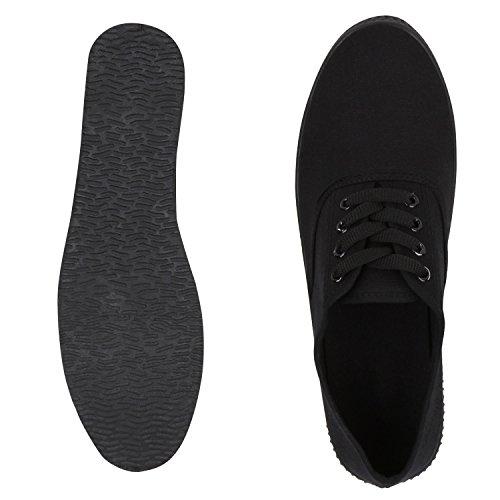 Damen Sneakers Freizeit Schuhe Stoffschuhe Schwarz Black