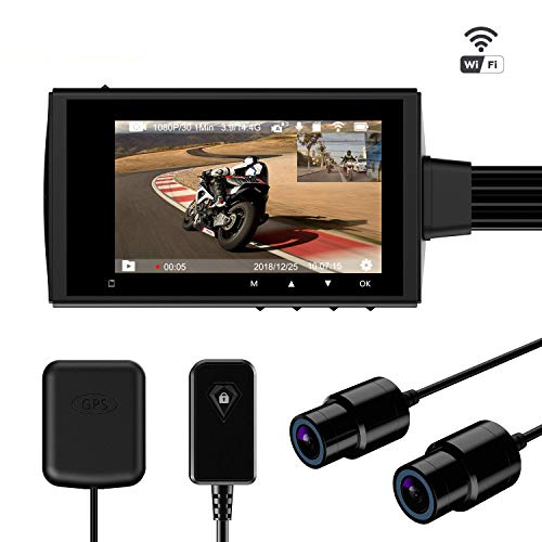"""Motowolf M3 Motorcycle Dash Camera Security System DVR Waterproof Dual Lens 1080P Driving Video Recorder with 2.7"""" LCD 155 Degree Angle WiFi & GPS Support 256G Max"""