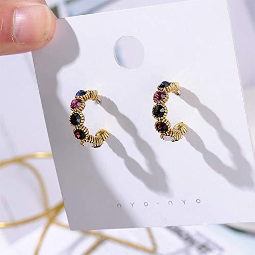 Ohrringe,Strass Bunten Frauen Mode Halbkreis Metall Schmuck Kleine Ohrringe Gold Circle Vintage Gekrümmte Nachahmungen Von Perlen