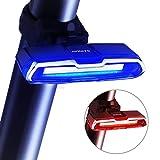 SLRR Superhelle USB wiederaufladbar, 5 Blinkmodi, super wasserdicht, rot-blau