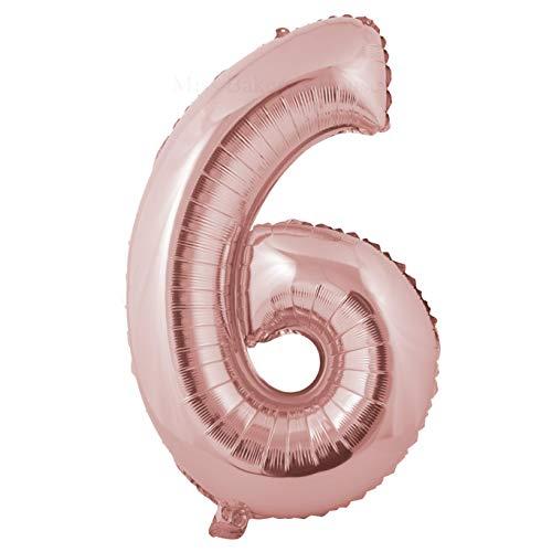 Miss Bakery's House® Ballon Folie Helium Zahl - (6, Roségold, XXL) - als Dekoration für Geburtstag, Jubiläum, Hochzeit (Rosa Ballon 6)