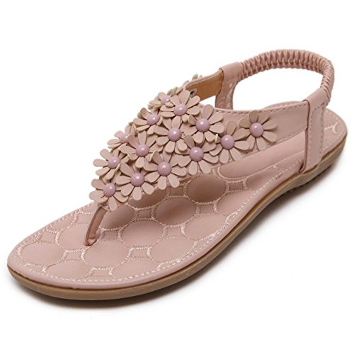 COOLCEPT Femmes Mode Appartements Tongs Elastique Dentelle Sandales Fille Ecole Chaussures with Floral Rose