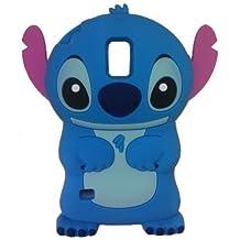 Samsung Galaxy S5 Funda,Anya 3D Lindo Moño Superhéroe Series Estilo Dibujo Goma Suave Silicona Nuevo Shell Cajas Funda PARA SAMSUNG GALAXY S5 SV G900 I9600 - Lilo Y Stitch Orejas Móviles Solapa Azul