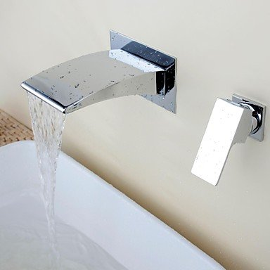 Wall-mounted waterfall ceramic valve single hole chrome bathroom sink faucet two