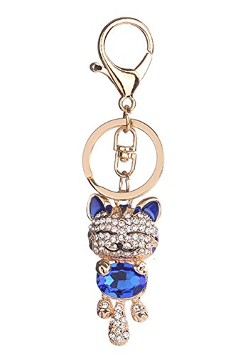 Porte-clés strass en cristal, Chickwin Cute Cat de mode Sac à main Porte-clés (Bleu)
