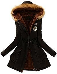 Longra Las mujeres calientan la capa larga del abrigo de la piel de la chaqueta con capucha El abrigo de invierno Outwear