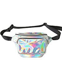 Surenhap Bolsa De Riñonera de Neón Brillante Resistente al Agua para Mujeres Rave Fiesta Holograma Bum Recorrido Paquete de la Cintura